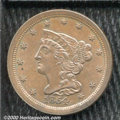 1854 1/2 C MS 60 Brown. This is a curiously attractive coin for the grade whose chocolate-brown surfaces are free of not...