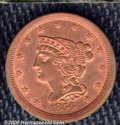 1854 1/2 C MS 60 Red and Brown, Questionable Color. Bright orange surfaces deepen to rose and blue in the exposed areas...