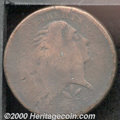 1793 Wreath 1C Cent--Vine and Bars--AG 3. S-9, R.2. The heavily worn surfaces show mottled crimson and dark brown patina...