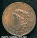 1817 1C 13 Stars MS 63 Red and Brown, PVC. Close Date. N-14, R.1. A Select example of this popular Randall Hoard variety...