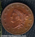1820 1C Large Date MS 60 Brown, Cleaned. N-13, R.1. A common Randall Hoard variety that is immediately recognized by the...
