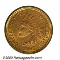 1866 1C MS 65 Red and Brown, PVC. This is a difficult, early bronze issue to locate with fully lustrous surfaces. Were i...
