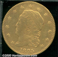 1825 $2 1/2 Fine 12 Reverse Repaired. The obverse displays an even, honey-gold appearance and minimally marked features...