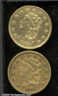 1834 $2 1/2 Classic VF 20 Obverse Scratches, in addition to unfortunate pinscratches over Liberty's face, an X has been...
