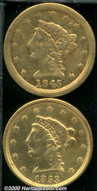 1845-O $2 1/2 Fine 12 Damaged, the surfaces display an area of roughness about the upper obverse periphery as well as a...
