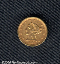 1855-D $2 1/2 AU 50 Cleaned. Unusually well struck on the obverse with most of the denticles fully separated, the revers...