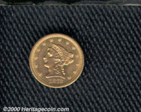 1873 $2 1/2 Open 3 AU 50 Lightly Cleaned. Some marks are noticed on the obverse device. From the Willow Grove Collection...