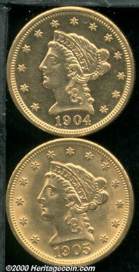 1904 $2 1/2 MS 61, moderately prooflike with the expected number of small abrasions for the grade; and a 1905 MS 61, the...