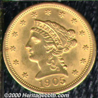 1905 $2 1/2 MS 62. Were it not for a few wispy abrasions on the obverse, this lustrous example would easily garner a Sel...