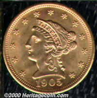 1905 $2 1/2 MS 63. Both sides exhibit modest cartwheel effects and scattered alloy spots. ...(PCGS# 7857)