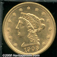 1906 $2 1/2 MS 62. There are a few small, well scattered abrasions on both sides of this lustrous specimen. ...(PCGS# 78...