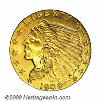 1909 $2 1/2 MS 65. Both sides are uncommonly well struck with needle sharp definition and a snappy appearance. The softl...
