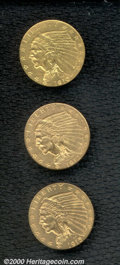 1910 $2 1/2 XF 40 Cleaned; 1912 MS 60 Cleaned; and a 1915 MS 60 Cleaned. All coins display dull features that are indica...