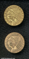 1910 $2 1/2 XF 45, honey-gold in appearance with a few wispy circulation marks; and a 1914-D AU 58, this is a lustrous...