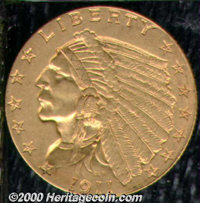 1911-D $2 1/2 AU 55. Nearly mark-free with honey-gold color and the lightest rub across the highpoints. ...(PCGS# 7943)