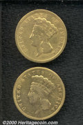 1854 $3 VG 10 Cleaned; and an 1856-S VG 10 Polished. The glossy, green-gold appearance of both of these coins does not s...