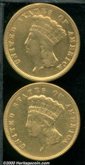 1854 $3 VF 20 Ex: Jewelry, Polished, this coin is too bright to be attractive to most collectors; and an 1878 VF 20 Clea...