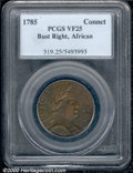1785 Connecticut Copper VF 25 PCGS. Bust Right, African Head. Breen-741. The surfaces show scattered roughness, but ther...