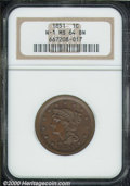 1851 1C MS 64 Brown NGC. N-1. Nicely struck in the centers with glossy-brown patina. Free of bothersome abrasions, the s...