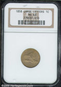 1858 1C Large Letters MS 63 NGC. Sharply struck with gray-golden surfaces that show numerous small spots overall