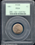 1861 1C MS 64 PCGS. Brilliant and essentially untoned with a slight rose cast on the reverse. An exceptionally clean exa...