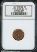 1864 1C L On Ribbon MS 64 Red and Brown NGC. Very well struck with generous amounts of mint color on both sides. The rev...