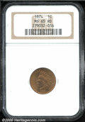 1874 1C MS 65 Red NGC. This is a difficult issue to locate with pristine, fully lustrous surfaces. In addition to the af...