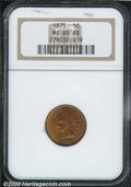 1875 1C MS 65 Red and Brown NGC. A nearly full red piece with a strong strike and spot-free surfaces. A scarce date in a...