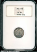 1893 10C MS 64 NGC. Sharply detailed with a deeply toned appearance. An excellent candidate for an originally toned type...