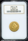 1852-C $5 AU 55 NGC. Although its original mintage of 72,574 pieces is respectable by Charlotte Mint half eagle standard...