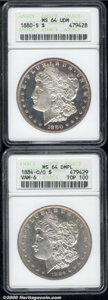 1880-S $1 MS 64 Deep Mirror Prooflike ANACS, faint russet highlights are noted about the denticles; and an 1884-O/O MS 6...