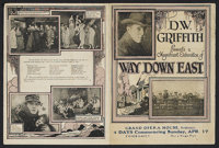 "Way Down East (United Artists, 1920). Herald (4.5"" X 6""). Romantic Drama. Starring Lillian Gish, Richard Barth..."