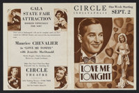 "Love Me Tonight (Paramount, 1932). Herald (7"" X 9.5""). Musical Comedy. Starring Maurice Chevalier, Jeanette Ma..."