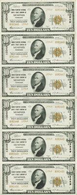 Memphis, TN - $10 1929 Ty. 2 Union Planters NB & TC Ch. # 13349 Uncut Sheet A fold is found between the third and fo...