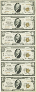 Allentown, PA - $10 1929 Ty. 2 The Second NB Ch. # 373 Uncut Sheet This is a serial number 1-6 sheet that has slightly...