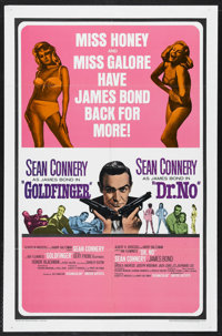 "Goldfinger/Dr. No Combo (United Artists, 1966). One Sheet (27"" X 41""). James Bond. Starring Sean Connery, Gert..."
