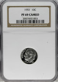 Proof Roosevelt Dimes: , 1951 10C PR69 Cameo NGC. The white-on-black contrast is formidable,and approaches Ultra Cameo status. This fully brilliant...