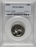 Proof Washington Quarters: , 1936 25C PR63 PCGS. Brilliant proof surfaces display evenly struck, sharply delineated design features. A few wispy obverse...