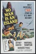 "Movie Posters:War, No Man Is an Island (Universal International, 1962). One Sheet (27""X 41""). War Adventure. Directed by Richard Goldstone and..."