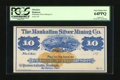 Obsoletes By State:Nevada, Austin, NV- Manhattan Silver Mining Co. $10 187_. This bright issue features a blue print and orange revenue stamp. PCGS V...