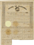 (Montgomery, AL)- State of Alabama $1000 Bond 1861 Cr. 61C This Military Defense bond with a yellow seal shows some foxi...