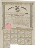 (Montgomery, AL)- State of Alabama $500 Bond 1861 Cr. 61A This bright Very Fine Military Defense bond has a pink seal...