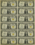 Small Size:World War II Emergency Notes, Fr. 2306 $1 1935A North Africa Silver Certificates. Uncut Sheet of12. Choice Crisp Uncirculated.. North Africa uncut sheets...