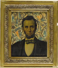 "A Large Portrait of Lincoln Framed by a Collage of Currency. A fascinating, large (approximately 24"" by 30"") p..."