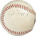 Autographs:Baseballs, Red Ruffing Single Signed Baseball. A vicious pitcher who helped the New York Yankees to seven World Series titles, Red Ruf...