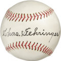 Autographs:Baseballs, Chas Gehringer Single Signed Baseball. Known for his quiet demeanorto go with monster production on the diamond, Charlie G...