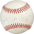 "Autographs:Baseballs, Joe Cronin Single Signed Baseball. Personalized single from theHall of Fame Yankees skipper reads ""To Jack Lytle, Joe Cron..."