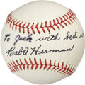 Autographs:Baseballs, Babe Herman Single Signed Baseball. One of two men who have hit forthe cycle three different times, the great Babe Herman ...