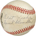 Autographs:Baseballs, Spud Chandler Single Signed Baseball. When he retired from baseballin 1947, Spud Chandler boasted a lofty .717 winning per...