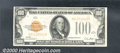 Small Size Gold Certificates:Small Size, 1928 $100 Gold Certificate, Fr-2405, Choice AU. Well centered w...